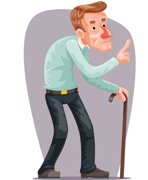 old man bent walking wise moral preaching instruction senile old dementia cane cartoon character design vector illustration - old man slippers stock illustrations, clip art, cartoons, & icons