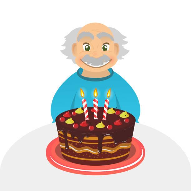 bildbanksillustrationer, clip art samt tecknat material och ikoner med old man birthday. senior man. chocolate cake. grandfather portrait . - 50 59 år