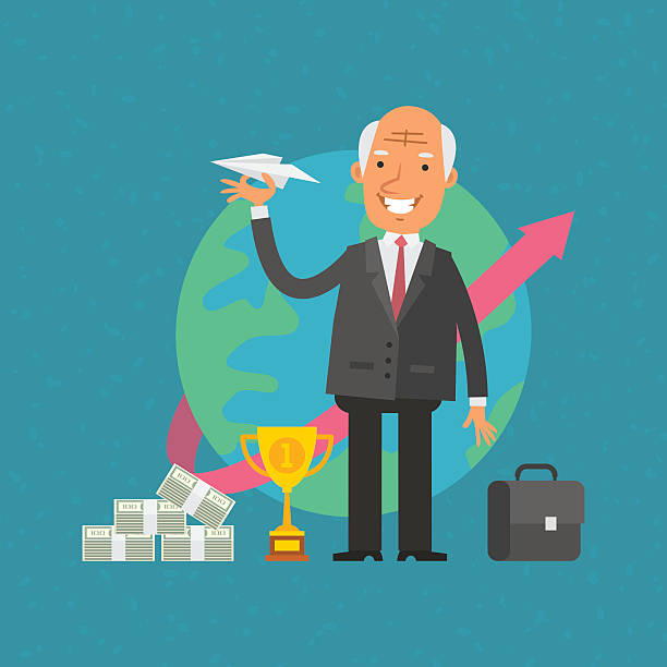 old man businessman holding paper airplane - old man standing background stock illustrations, clip art, cartoons, & icons