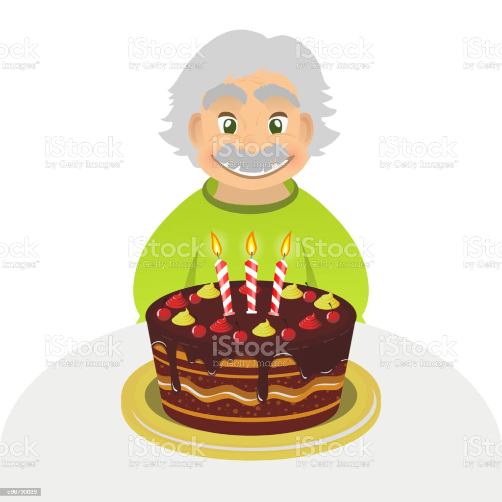 Stupendous Old Man Celebrating Birthday Senior Man With Cake Isolated Funny Birthday Cards Online Overcheapnameinfo