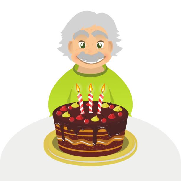 bildbanksillustrationer, clip art samt tecknat material och ikoner med old man celebrating birthday. senior man with cake isolated. - 55 59 år