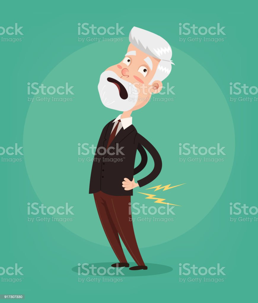 Old Man Character Have Spine Pain And Problem Stock