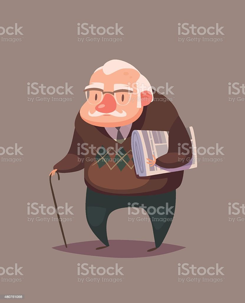 Old man character vector art illustration