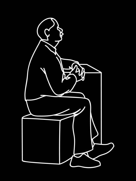 old man crossing his hands, sitting on cube. white lines isolated on black background. concept. vector illustration of old man with moustache in simple line art style. monochromatic hand drawn sketch. - old man sitting chair drawing stock illustrations, clip art, cartoons, & icons