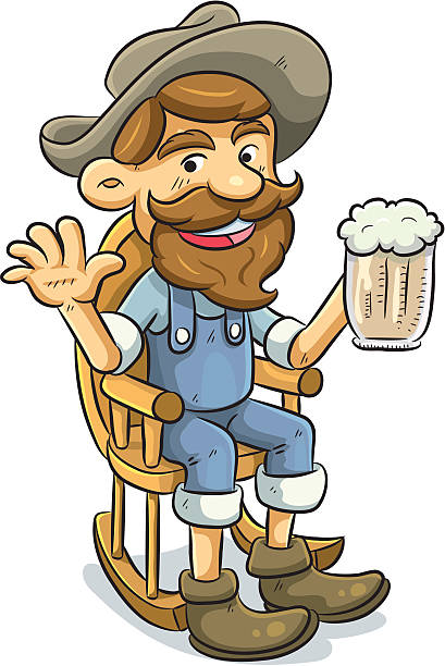 old man drinking a beer - old man rocking chair cartoon stock illustrations, clip art, cartoons, & icons