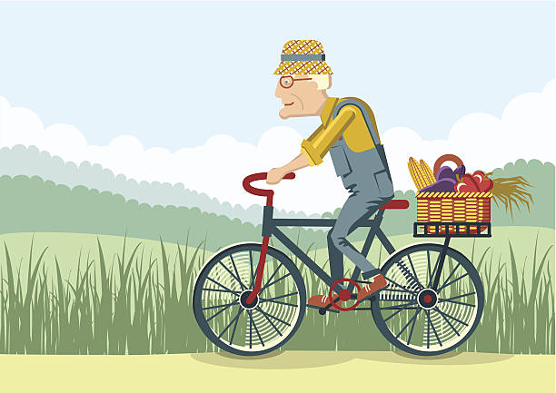 old man drive by bike.vector gardener - old man on bike stock illustrations, clip art, cartoons, & icons