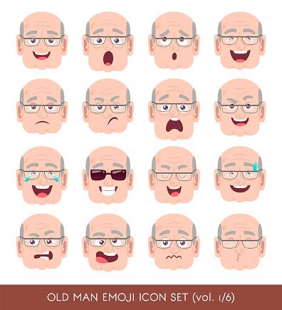 Old man emoji icon set