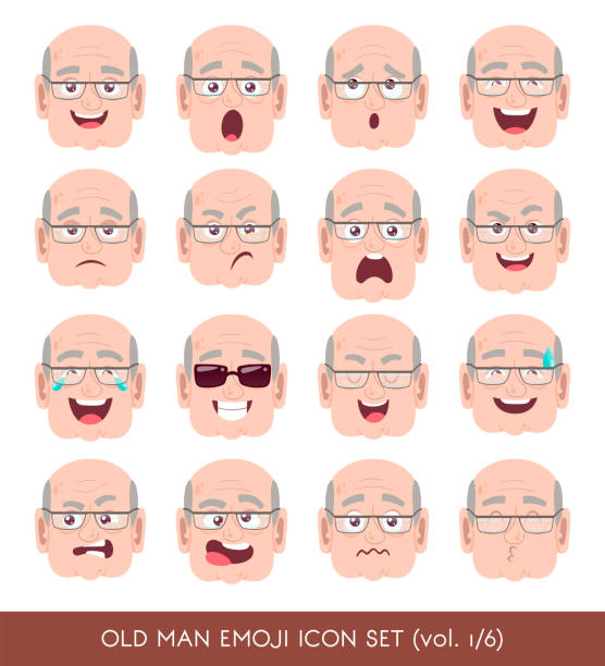 old man emoji icon set - old man kissing stock illustrations, clip art, cartoons, & icons