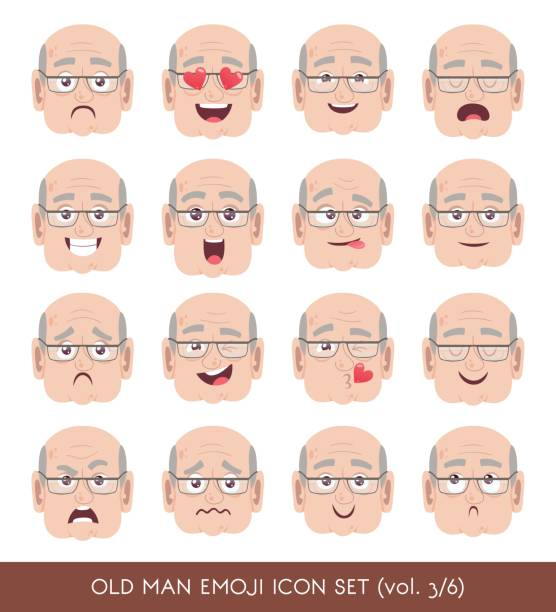 old man emoji icon set - old man sleeping silhouettes stock illustrations, clip art, cartoons, & icons