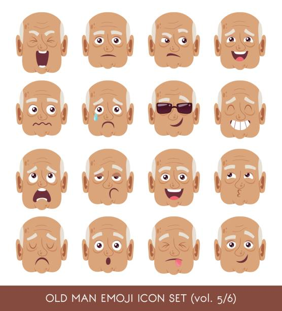 old man emoji icon set - old man crying stock illustrations, clip art, cartoons, & icons