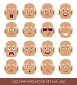 Old man emoji icon set