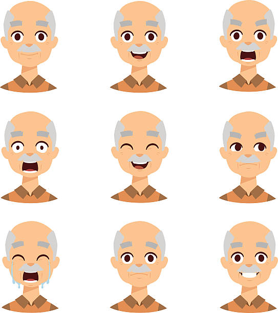 old man emotions vector icons - old man smiling backgrounds stock illustrations, clip art, cartoons, & icons