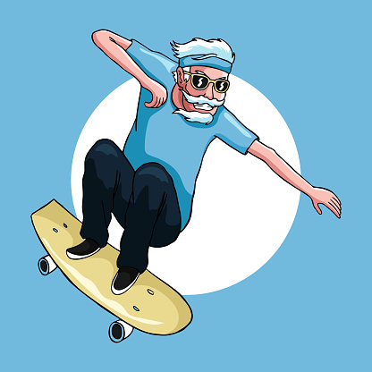 Old man enjoy playing freestyle skateboard in his old age vintage hand drawing artwork illustration