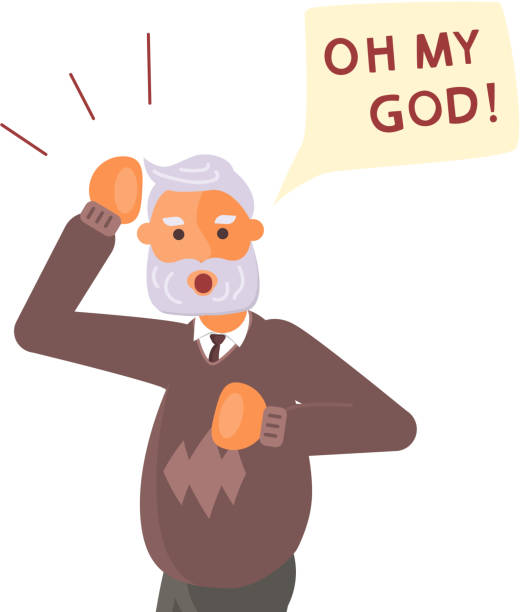 old man exclaim in surprise and raises his hands to his head. - old man crying stock illustrations, clip art, cartoons, & icons