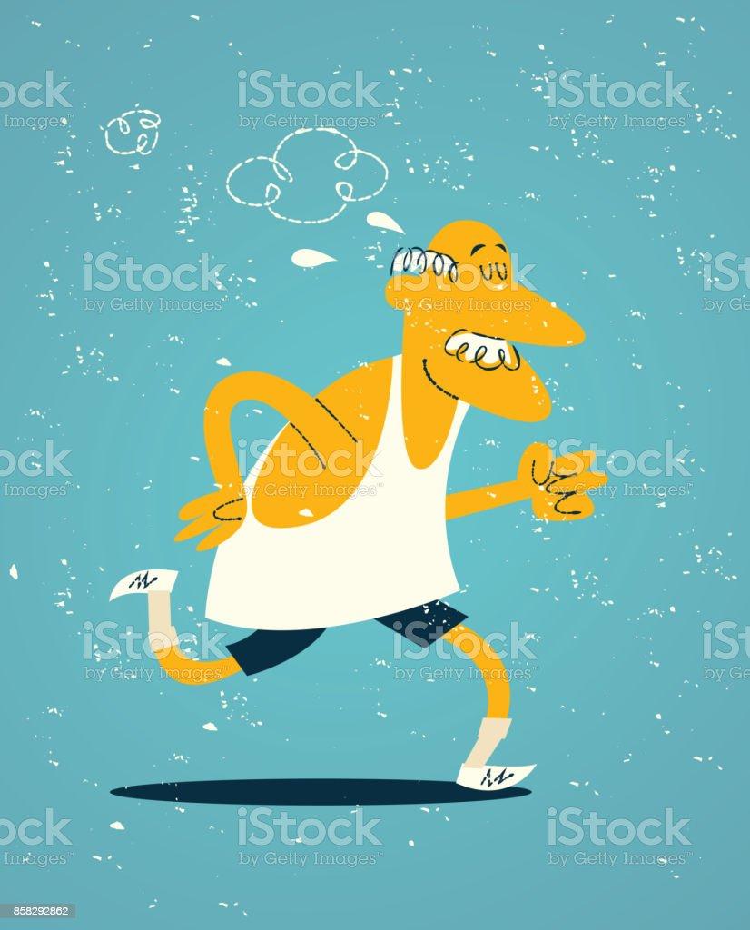 Old man exercising vector art illustration