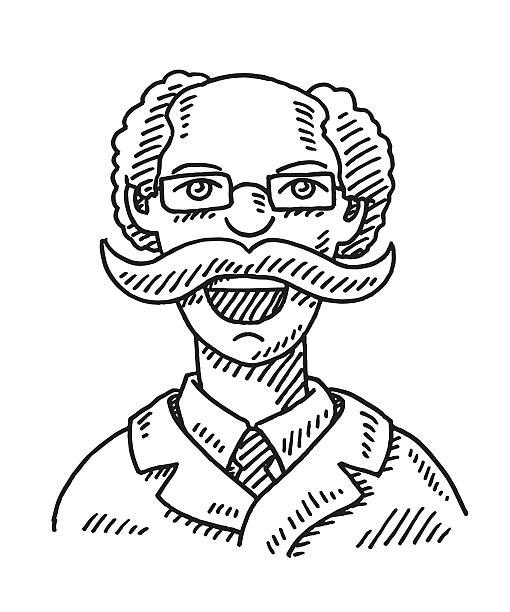 old man face bearded drawing - old man portrait drawing stock illustrations, clip art, cartoons, & icons