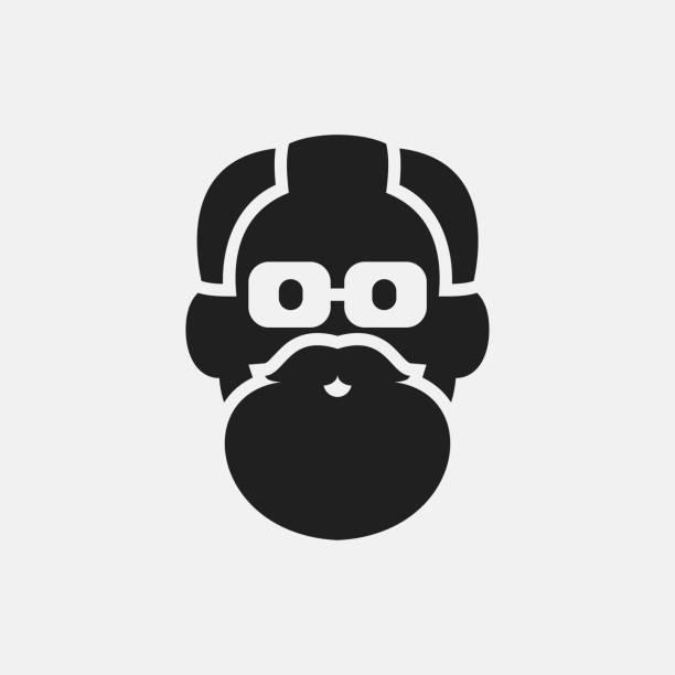 old man face icon illustration - dziadek stock illustrations