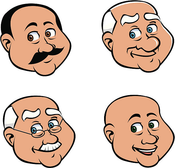 old man faces - old man smile cartoon stock illustrations, clip art, cartoons, & icons