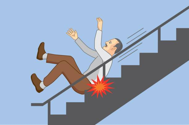 old man falling from staircase. - old man on a back pain silhouette stock illustrations, clip art, cartoons, & icons