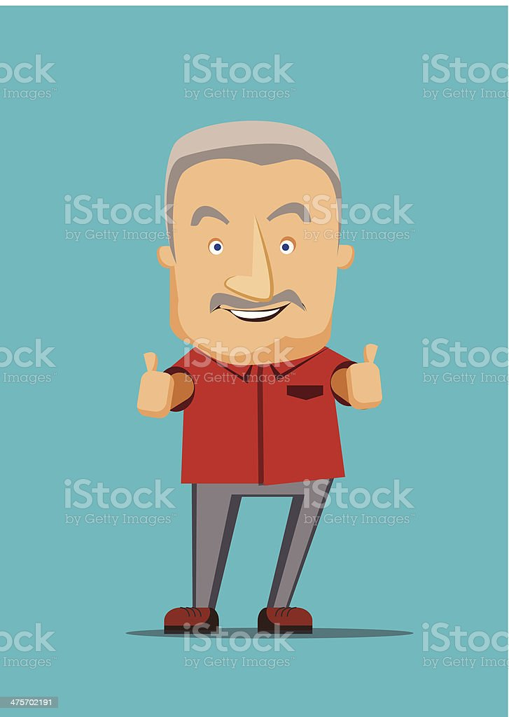Old man giving a thumbs up vector illustration vector art illustration