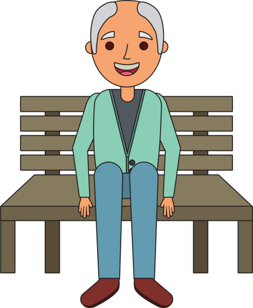 old man grandpa sitting in bench waiting - old man sitting chair drawing stock illustrations, clip art, cartoons, & icons