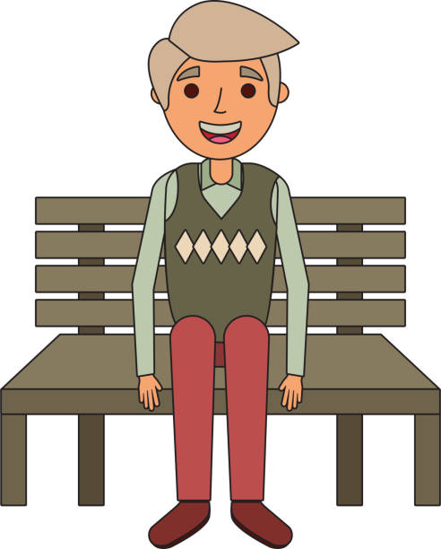 old man grandpa sitting in bench waiting - old man sitting chair clip art stock illustrations, clip art, cartoons, & icons
