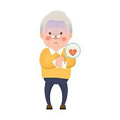 Old Man Heart Attack Cartoon Character