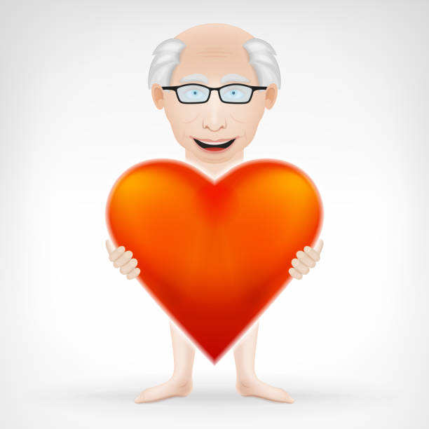old man holding his big red heart - old man nude clip art stock illustrations