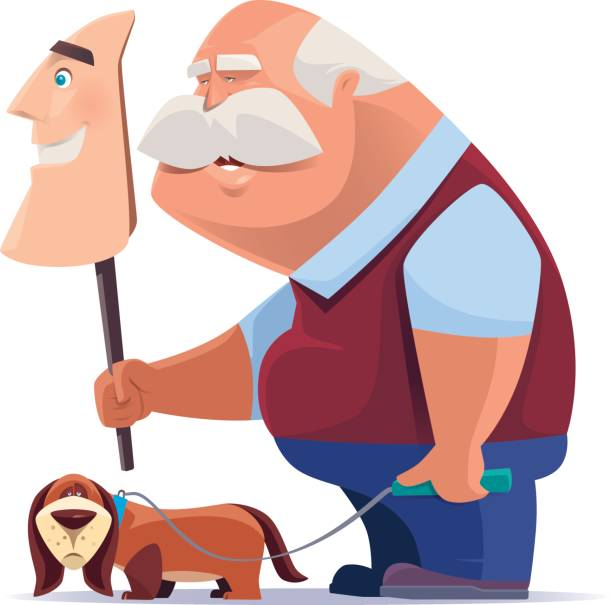 old man holding smiling mask with dog - old man mask stock illustrations, clip art, cartoons, & icons