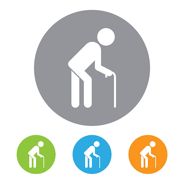 old man icon - old man stick figure silhouette stock illustrations, clip art, cartoons, & icons
