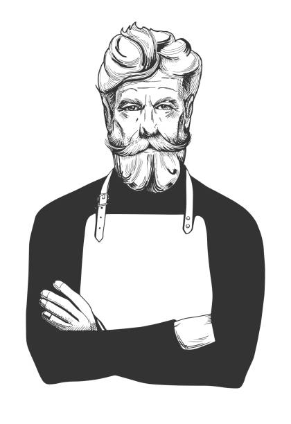 old man in apron Vector illustration of an attractive man in age with a full beard and moustaches wearing apron. Cook, barber, barista, hairdresser, stylist, sailor, fisherman, angler close-up portrait in vintage hand-drawn engraving style. apron stock illustrations