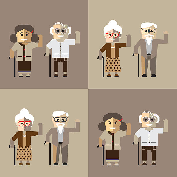 old man in glasses and old woman with cane. - old man standing background stock illustrations, clip art, cartoons, & icons