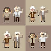 Old man in glasses and old woman with cane.