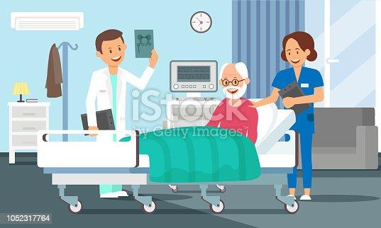 Old Man in Hospital Room Concept. Senior Male Patient resting in Hospital Bed. Doctor and Nurse visiting a Older Person. Medical Health care. Hospital Ward Set. Vector Flat Illustration