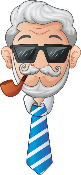 old man in necktie and glasses with the beard and moustache and a smoking pipe - old man smoking pipe cartoons stock illustrations, clip art, cartoons, & icons