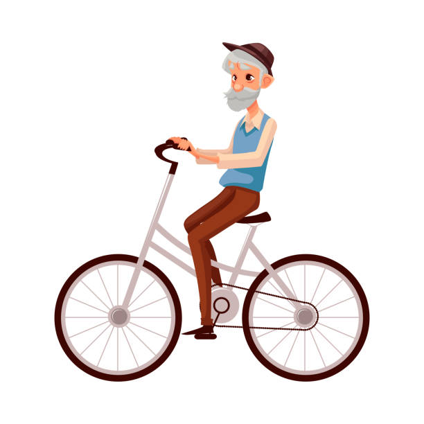 old man in vest and hat riding a bicycle, cycling - old man on bike stock illustrations, clip art, cartoons, & icons