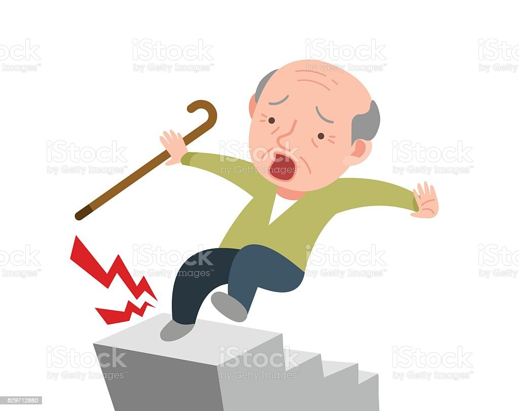 old man is falling down in the stairs. - ilustración de arte vectorial