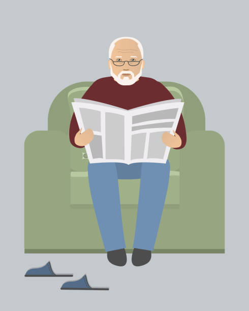 old man is sitting in an armchair and reading a newspaper - old man shoes stock illustrations, clip art, cartoons, & icons