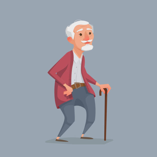 old man is standing with a cane. An old man is standing with a cane. Kind grandfather in the style of cartoons. Vector illustration for an article, print. canelones stock illustrations