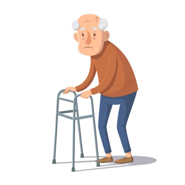 ilustrações de stock, clip art, desenhos animados e ícones de old man is standing with a walking frame. vector illustration. - covid hair