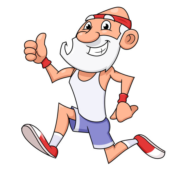old man jogging - old man smile cartoon stock illustrations, clip art, cartoons, & icons