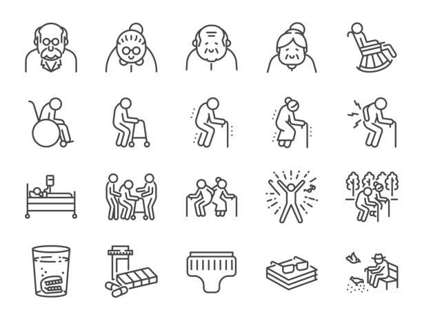 ilustrações, clipart, desenhos animados e ícones de jogo do ícone da linha do homem idoso. ícones incluídos como pessoas mais velhas, envelhecimento, saudável, sênior, vida e muito mais. - aposentadoria