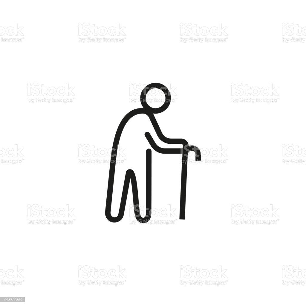 Old man line icon vector art illustration