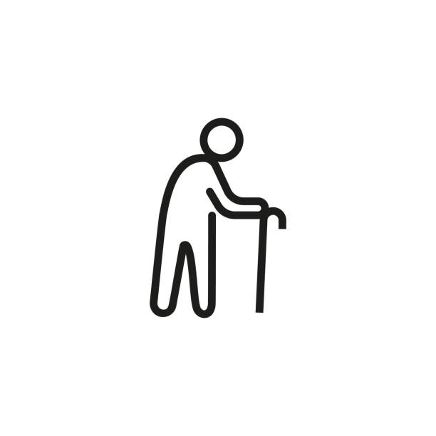 Old man line icon Old man line icon. Cane, senior, walking. People concept. Can be used for topics like aging, retirement, disease. wicker stock illustrations