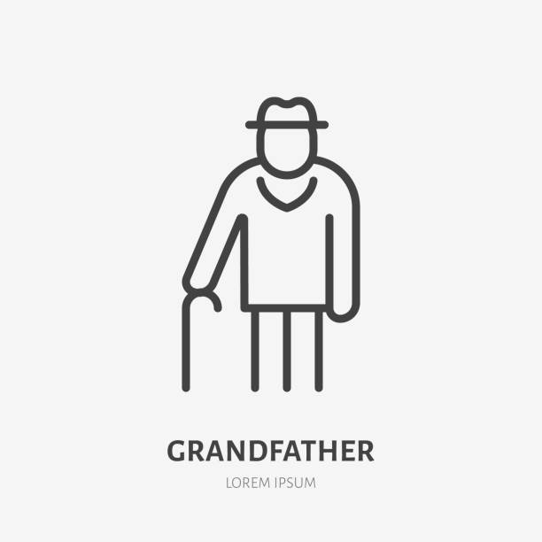 Old man line icon, vector pictogram of grandfather with stick. Elderly care illustration, people sign Old man line icon, vector pictogram of grandfather with stick. Elderly care illustration, people sign. one senior man only illustrations stock illustrations