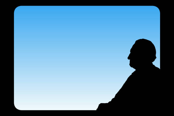 old man looks out window - old man sitting backgrounds stock illustrations, clip art, cartoons, & icons