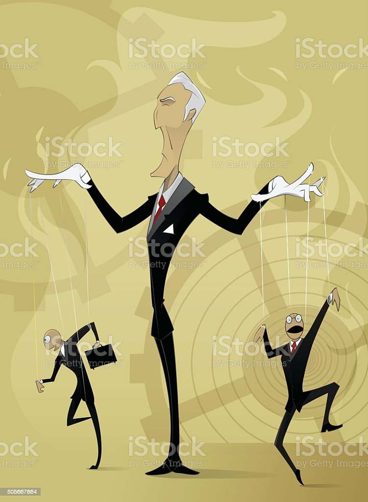 Old man manipulates by others vector art illustration