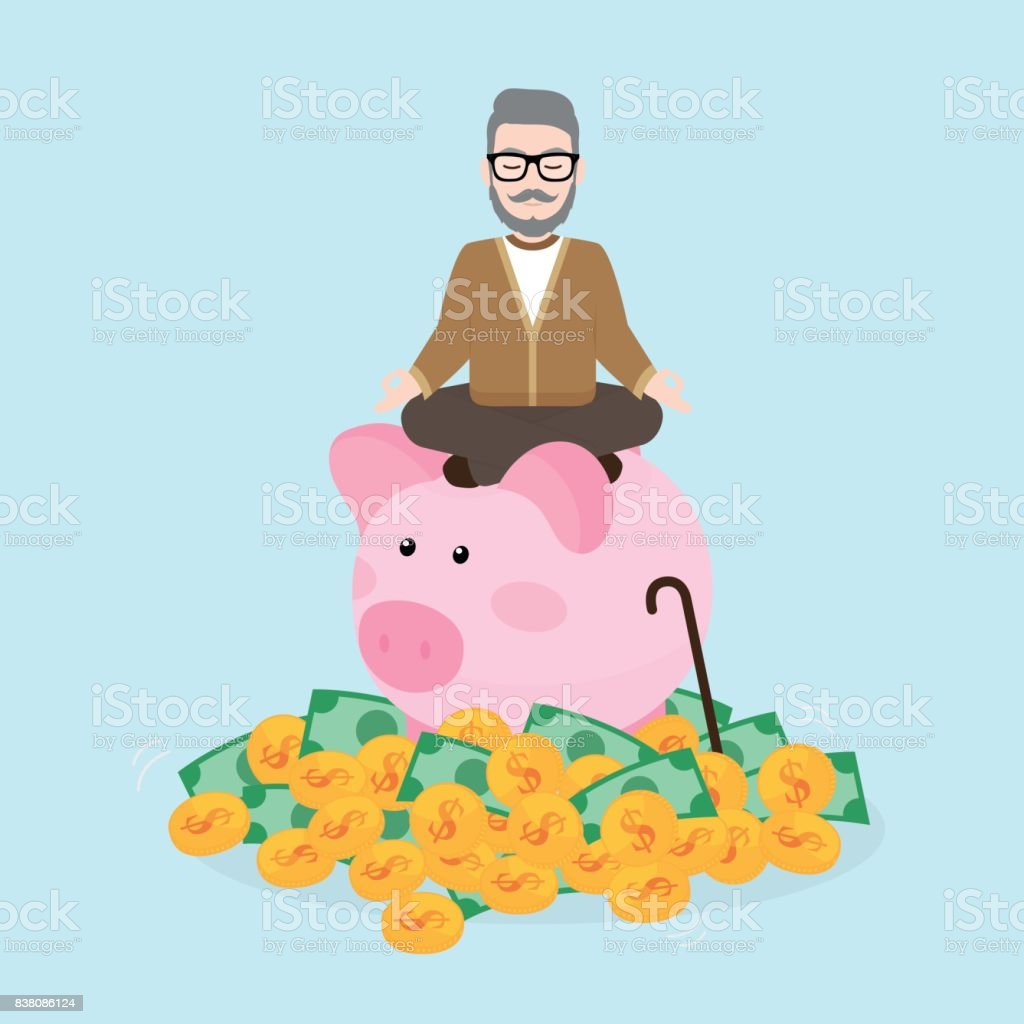 Alter Mann meditiert über Sparschwein mit einem Haufen von Münzen und Geldscheine, Pension – Vektorgrafik