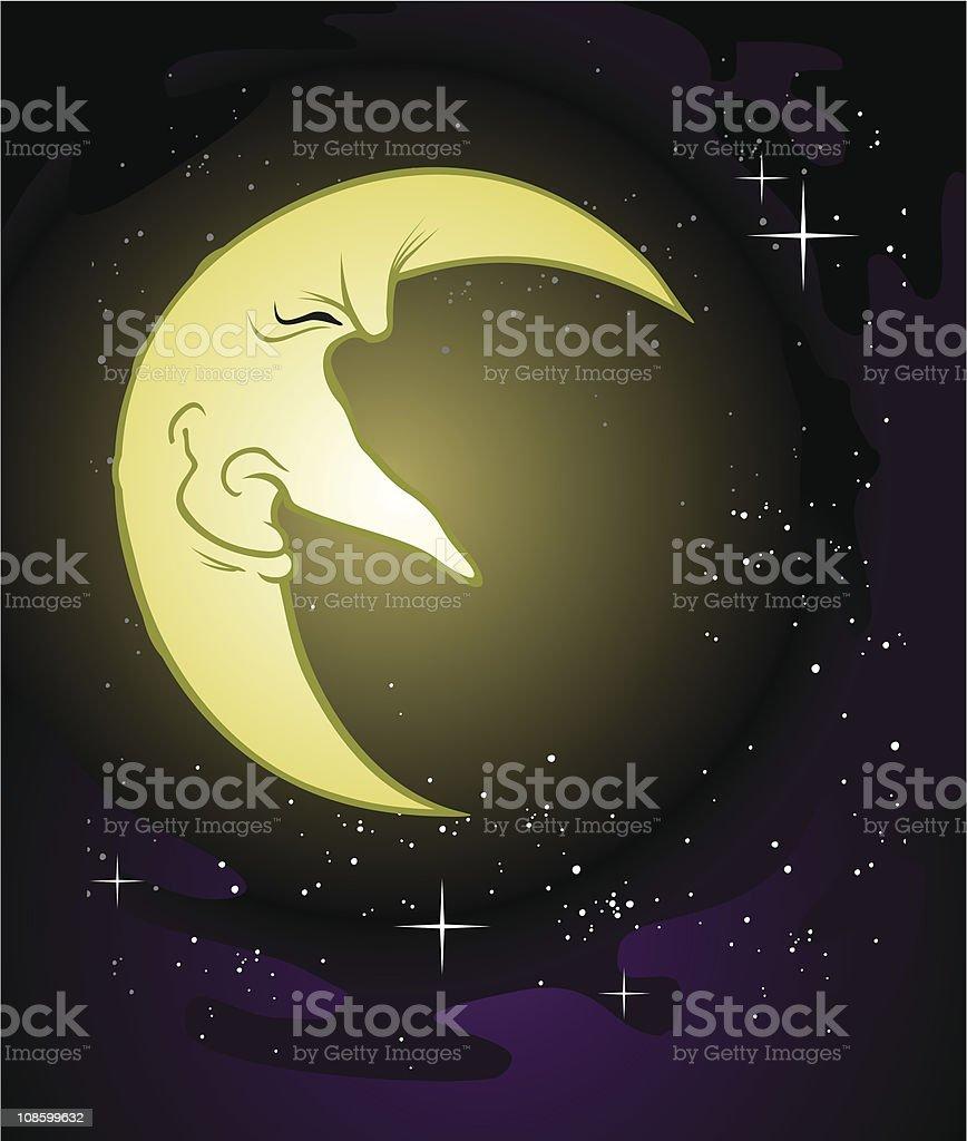 Old Man Moon vector art illustration
