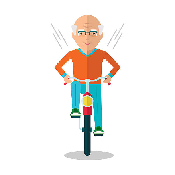old man on bicycle - old man illustration pictures stock illustrations, clip art, cartoons, & icons